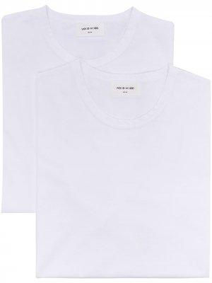 Комплект Allen из двух футболок Wood. Цвет: белый
