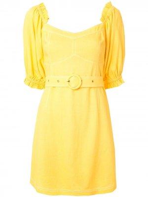 Платье мини Ines с объемными рукавами Suboo. Цвет: желтый