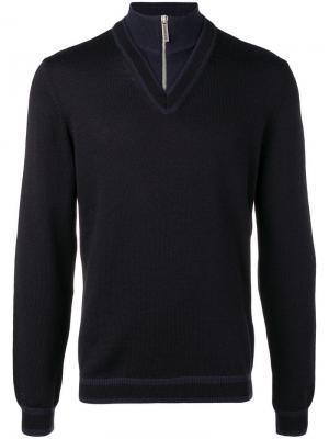 Quarter zip chevron sweater Dirk Bikkembergs. Цвет: черный