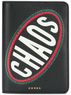 Обложка для паспорта с графическим принтом Chaos. Цвет: черный