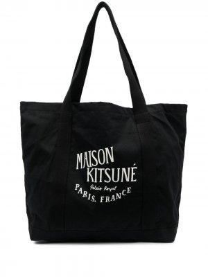 Сумка-шопер с логотипом Maison Kitsuné. Цвет: черный
