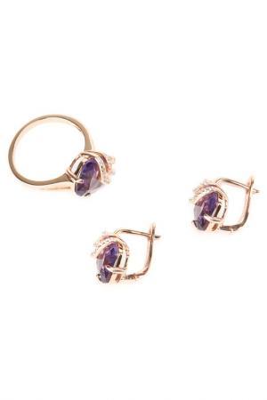 Комплект: кольцо, серьги Be You to Full. Цвет: фиолетовый