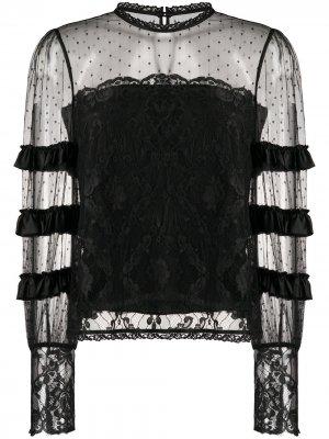 Ярусная кружевная блузка Temperley London. Цвет: черный
