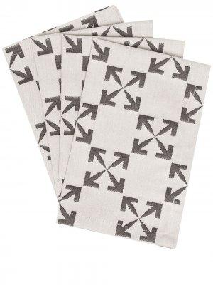 Набор из четырех салфеток под приборы с логотипом Arrows Off-White. Цвет: серый