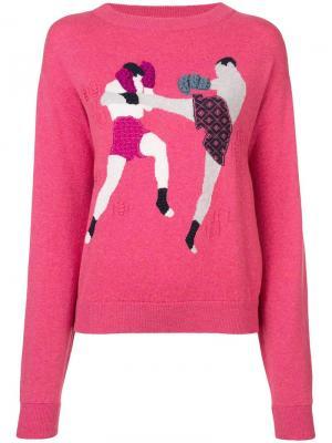 Пуловер с круглым вырезом Chessboxing Barrie. Цвет: розовый