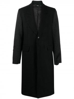 Однобортное пальто с эффектом потертости Isabel Benenato. Цвет: черный