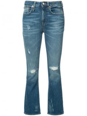 Расклешенные джинсы R13. Цвет: синий
