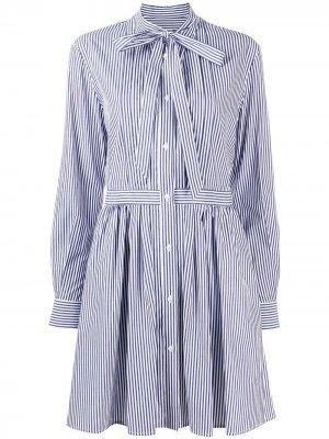 Короткое платье в полоску MSGM. Цвет: белый