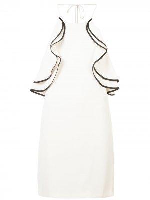 Платье по фигуре с оборками Halston Heritage. Цвет: нейтральные цвета