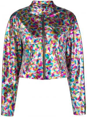 Укороченная кожаная куртка Jeremy Scott. Цвет: металлик