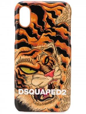 Чехол для iPhone X с принтом Dsquared2. Цвет: оранжевый