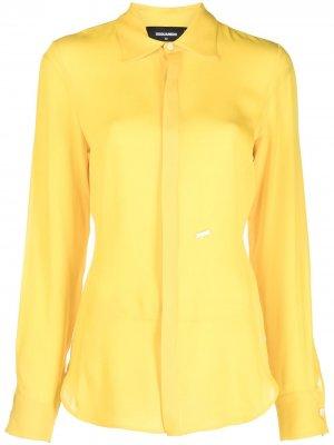 Блузка на пуговицах с логотипом Dsquared2. Цвет: желтый