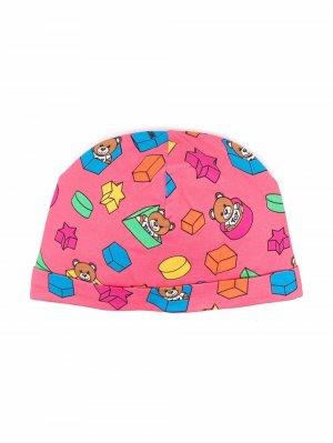 Шапка бини с узором Moschino Kids. Цвет: розовый