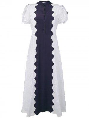 Платье миди с волнистыми панелями и вышивкой Valentino. Цвет: белый