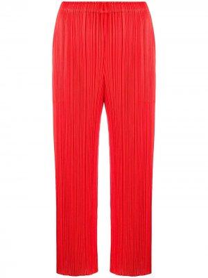 Укороченные плиссированные брюки Pleats Please Issey Miyake. Цвет: красный
