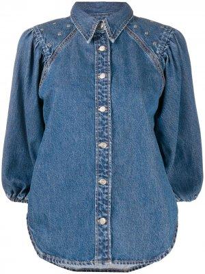 Джинсовая рубашка на кнопках GANNI. Цвет: синий