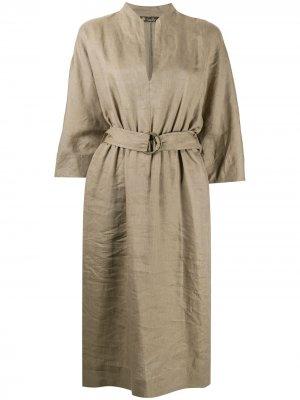 Платье миди с поясом Loro Piana. Цвет: зеленый