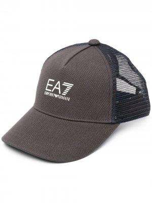 Кепка с тисненым логотипом Ea7 Emporio Armani. Цвет: синий
