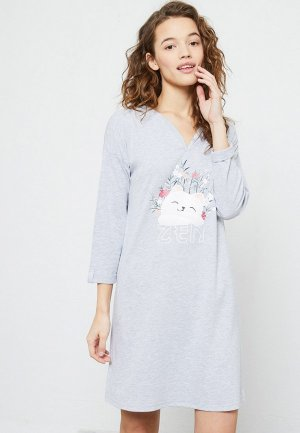 Сорочка ночная Etam. Цвет: серый