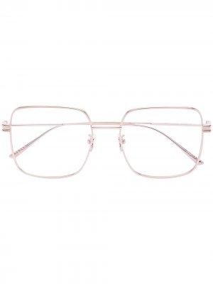 Очки в квадратной оправе металлик Bottega Veneta Eyewear. Цвет: золотистый