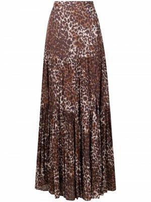 Юбка с разрезом и леопардовым принтом Veronica Beard. Цвет: коричневый