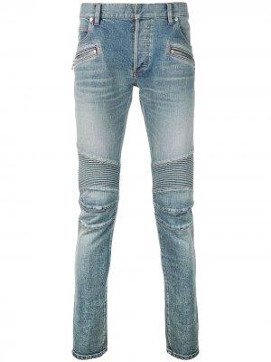 Байкерские джинсы скинни Balmain. Цвет: синий