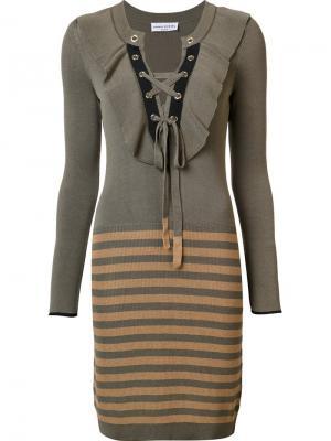 Вязаное платье в полоску Sonia Rykiel. Цвет: зеленый