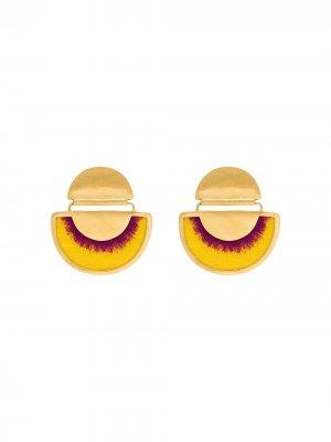 Позолоченные серьги с бахромой Katerina Makriyianni. Цвет: желтый