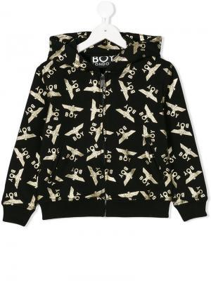 Куртка-бомбер с капюшоном и принтом Boy London Kids. Цвет: черный