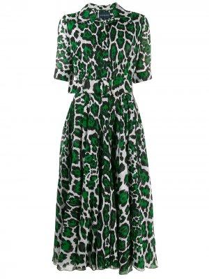 Платье-рубашка с леопардовым принтом Samantha Sung. Цвет: зеленый