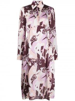 Платье-рубашка с абстрактным принтом Victoria Beckham. Цвет: фиолетовый