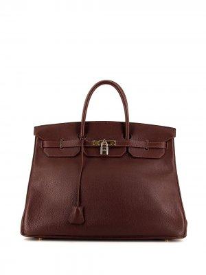 Сумка pre-owned Birkin 40 Hermès. Цвет: коричневый