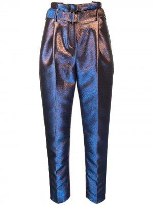 Зауженные брюки с голографическим эффектом Karl Lagerfeld. Цвет: синий