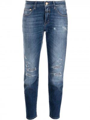 Узкие джинсы Baker с эффектом потертости Closed. Цвет: синий