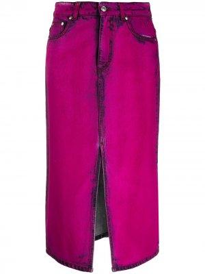 Джинсовая юбка с эффектом потертости MSGM. Цвет: розовый