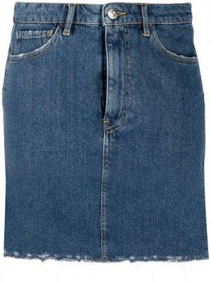 Джинсовая юбка с необработанными краями 3x1. Цвет: синий