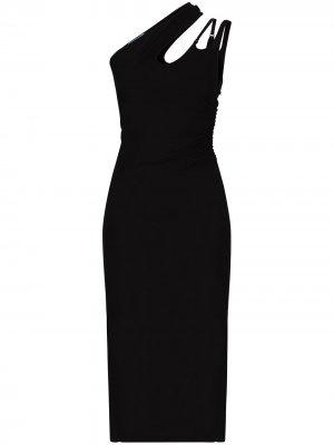 Платье на одно плечо с вырезами Mugler. Цвет: черный