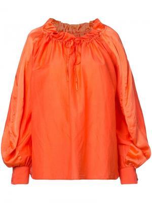 Свободная блузка с горловиной на шнурке Tsumori Chisato. Цвет: оранжевый