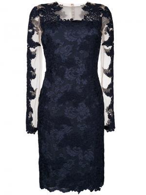 Платье миди с вышивкой Olvi´S. Цвет: синий