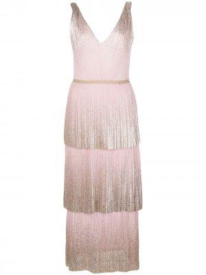 Ярусное платье миди со складками Marchesa Notte. Цвет: розовый