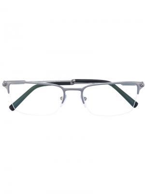 Квадратные очки Bulgari. Цвет: серый