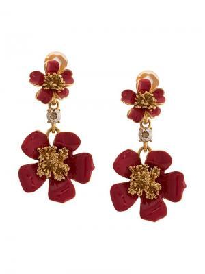 Серьги с цветочной подвеской Oscar de la Renta. Цвет: золотистый