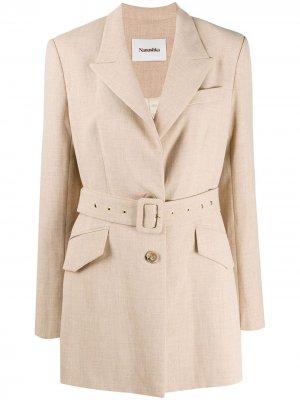 Пиджак с поясом Nanushka. Цвет: нейтральные цвета