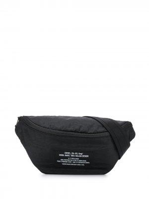 Поясная сумка на молнии с логотипом Diesel. Цвет: черный