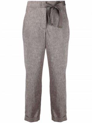 Укороченные брюки с бантом Peserico. Цвет: коричневый