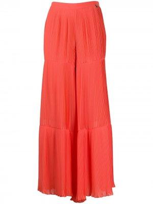 Плиссированные брюки широкого кроя Twin-Set. Цвет: оранжевый