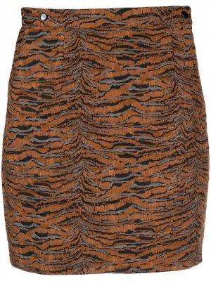 Юбка с зебровым принтом Roseanna. Цвет: коричневый