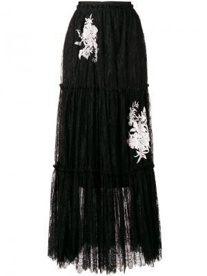 Кружевная юбка макси Twin-Set. Цвет: черный