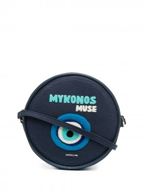 Круглая сумка на плечо Mykonos Olympia Le-Tan. Цвет: синий