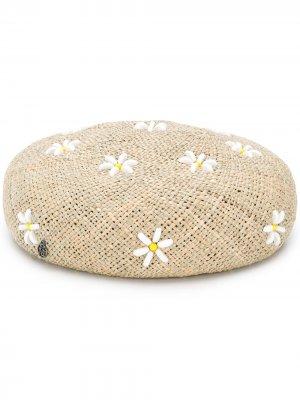 Берет с цветочной вышивкой Maison Michel. Цвет: нейтральные цвета